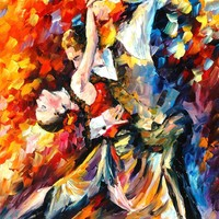 TANGO IN PARIS — Palette knife Oil Painting on Canvas by Leonid Afremov - Size 24x30. 10% discount coupon - deviantart10off