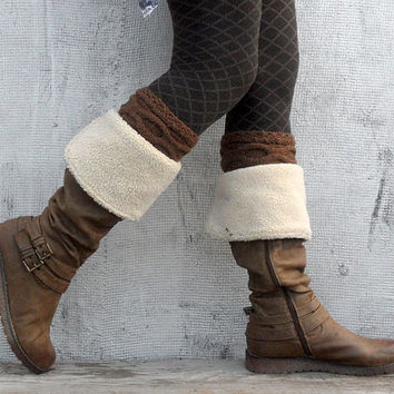 Inverted Cable Boot Cuffs Knit Brown Wool Boot Tops Winter Warm Boot Warmers Cable Boot Toppers Women Booy Socks Short Leg Warmers - BC0005