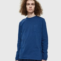 Velva Sheen / Tubular L/S Pocket Tee in Navy