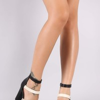 Bamboo Metallic Strappy Open Toe Chunky Heel