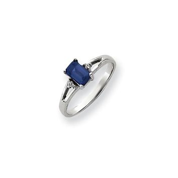 0.024 Ct  14k White Gold 6x4mm Emerald Cut Sapphire Diamond Ring I2 Clarity and I/J Color