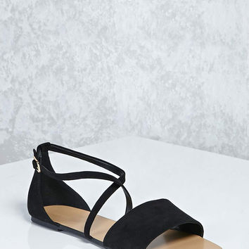Faux Suede Crisscross Sandals