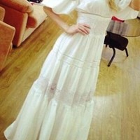 White Boat Neck Bohemian Short Sleeve Elegant Maxi Dress