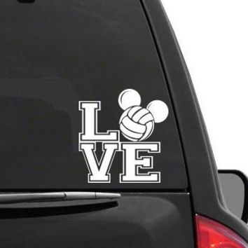 Auto Sticker - Auto Decal MICKEY MOUSE EARS LOVE YOLLEYBALL Vinyl Decal Sticker DISNEY for Car Truck SUV Boat Trailer Laptop iPad