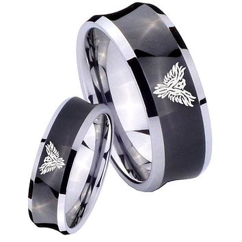 His Her Black Concave Phoenix Two Tone Tungsten Wedding Rings Set