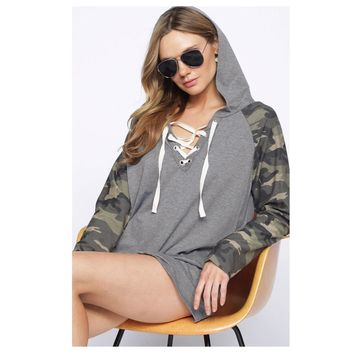Adorable Me, Lace Up Camo Grey Hooded Top