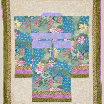 Quilted Peacock Kimono Wall Hanging -100% cotton