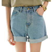 2017 New Spring Summer Women Denim Shorts Korean Style High Waist Roll Up Loose Jeans Shorts Casual Hot Shorts