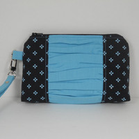 iPhone Wristlet, Clutch Wristlet, Gathered Wristlet, Wristlet Purse, Clutch Purse, Wistlet Wallet, Bridesmaid Gift, Black Aqua Blue