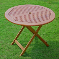 Folding 32-inch Outdoor Patio Dining Table in Wood with Umbrella Hole