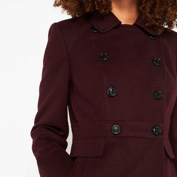 Burgundy Double Breasted Coat | Missselfridge