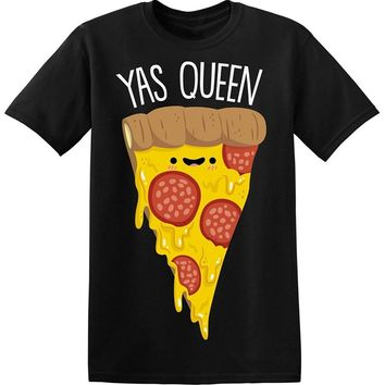 Yas Queen Adorable Slice Of Pizza Printed T-Shirt - Men's Crew Neck T-Shirt