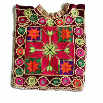 Indian Vintage Banjara Neck Yoke with Hand Embroidery and Mirror work/ Old Fabric to Decorate Your Clothing and Interior