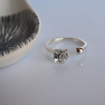 Herkimer diamond ring, 925 silver ring, double ring, engagement ring,minimal ring,adjustable ring,stackable ring, open ring handmade italian