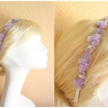 Lilac Little  Flower Lace with Rhinestone and  Silver Beads Headband , Bridesmaid Head Piece