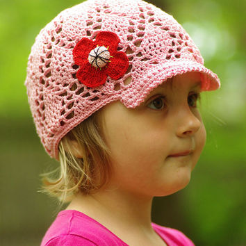 Kids pink crochet summer visor hat, handmade sunhat, girls baseball hat, girls sunhat, cotton sunhat, floppy hat, lacy hat, hat with flower