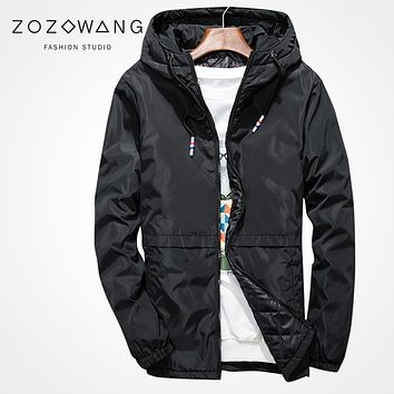 Zozowang 2017 fashion new solid zipper hooded winter jacket men casual loose Windbreaker streetwear Bomber Flying coat men