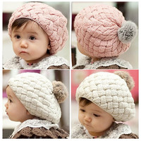 baby hat crochet beanie toddler cap for 4 months-3 years old girl