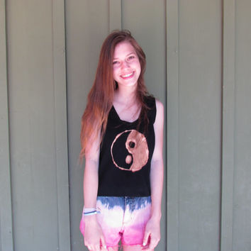 Yin Yang, Tumblr, Hipster, Grunge, Punk, Cute, Cool, Girly, Pretty, Bleach and Black, Tie Dye Tank Top Shirt