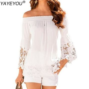 YAYEYOU Women White Lace Off shoulder Blouse Spring Chiffon Blouses and Shirts Flare Sleeve Casual Tops Blusas Plus Size