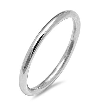 Sterling Silver Women's Ring Plain Round Band 2MM