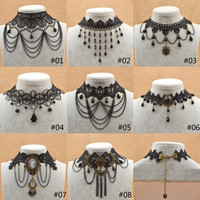 Fashion Women Black Lace Choker Retro Flower Crystal Tassel Pendant Necklace Collares Gothic Victorian Steampunk Collar Necklace