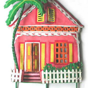 Pink Caribbean House Wall Hook - Painted Upcycled Metal Tropical Art Design - K-1002-PK-HK
