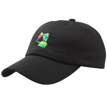Kermit Tea Hat The Frog Sipping Drinking Tea Baseball Dad Visor Cap Emoji Hot