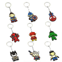 Avengers Keychain Thor Captain America Hulk SpiderMan Deadpool Batman Key Ring Holder Chaveiro Car Key Chain Pendant Jewelry