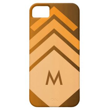 Monogrammed Shades of Orange Geometric Abstract iPhone 5 Cover