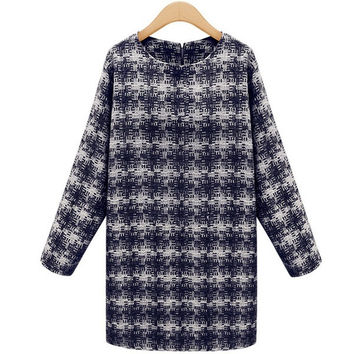 Autumn Winter Women Fashion Long Sleeve Round Collar Plaid Design Dress Zipper Back  Sexy Mini Vestidos = 1667558212