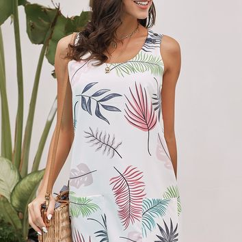 Modest White Bohemian Printed Drawstring Sleeveless Dress