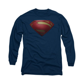 Superman Man Of Steel Shield Mens Long Sleeve T-Shirt