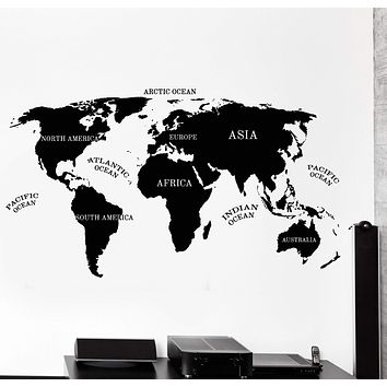 Vinyl Wall Decal World Map Atlas Africa Asia America Atlantic Ocean Decor Unique Gift z4482
