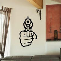 Wall Decal Vinyl Sticker Gun Handgun Weapon Military Decor Sb436
