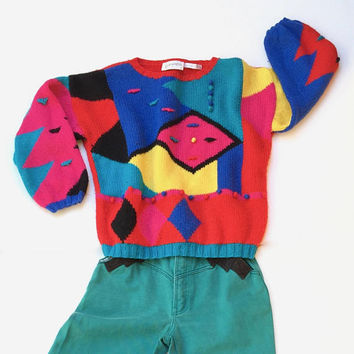 Vintage 1980s 'Vivace' multi coloured and multi patterned art knit wool sweater with 3D accents
