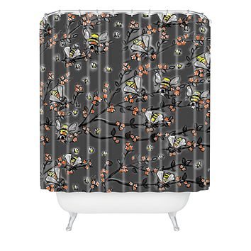Renie Britenbucher Bees Black White Shower Curtain