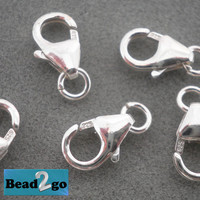 925 Sterling Silver Lobster Clasps With Open Jump Ring 4.8x8.2mm Oval Lobster Claw Clasps In Bulk On Sale Various Quantities Necklace Clasp