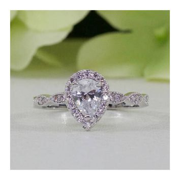 0.75 ct. Sterling Silver Halo Art Deco Style Pear CZ Engagement Ring