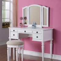 Five-drawers White Finish Vantiy Table w/ Foldout Mirror & Stool Vanity Set