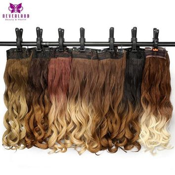 ONETOW Neverland 24' 60cm Wavy 5 Clips One Piece Natural Brown Two Tone Ombre Synthetic Hairpiece Clip In Hair Extensions for Women