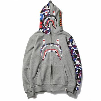 BAPE AAPE Newest Fashionable Women Men Shark Mouth Print Hooded Zipper Sweater Jacket Coat Grey