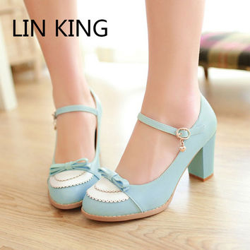 LIN KING Ladies Leather Platforms Lady Fashion Lolita Shoes Sexy Bowtie High Heel Shoes Women Pumps Wedding Shoes size 34-43