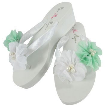 Mint Green and Pearl Bridal and Bridesmaid Flip Flops