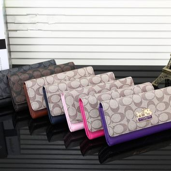 Coach Temperament Fashion Multicolor Print Long Section Multi-card Bit Button Three Fold Wallet Women Clutch Purse
