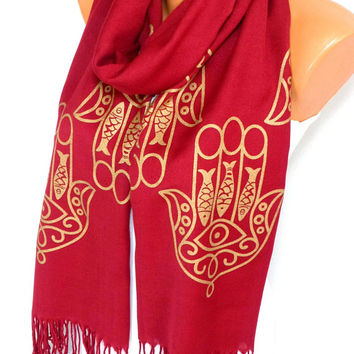 Scarf, Shawl, Hamsa Scarf, Hamsa Printed Scarf, Hands of Fatima, Hamsa Painted Shawl, Womens Fashion Accessories, Gifts for Mothers Day