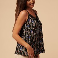 Back To Back Floral Racerback Top (Black)