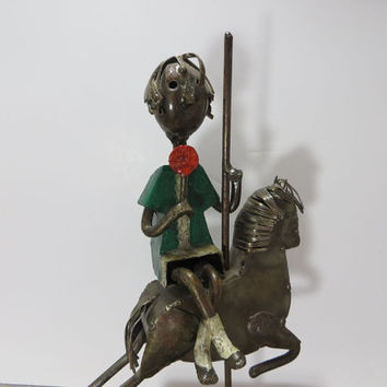 Manuel Felguerez Boy with Lollipop Boy on Carousal Metal Art Paper Mache Art Spanish Art Modern Art Metal Sculpture