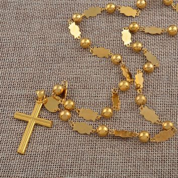 Anniyo Marshall Necklaces Beads Chains With Cross Pendant for Women Gold Color Fashion Micronesia Islands Jewelry Gifts #126506