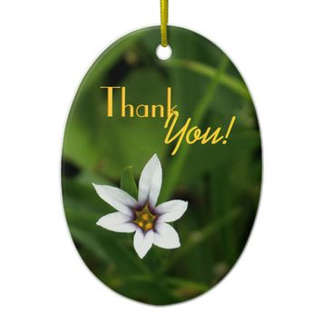"Single WIldflower ""Thank You!"" Ceramic Ornament"